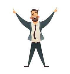 isolated person winner businessman win victory vector image