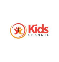 Kids channel logo template design vector