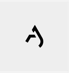 Letter ja aj a monogram logo design minimal icon vector