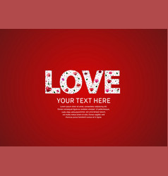 Love text white color on red background vector
