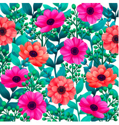 luminous tropical background with 3d style flowers vector image