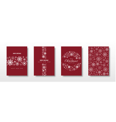merry christmas card set decoration with snowflake vector image