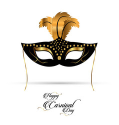 new elegant black and golden carnival mask with vector image
