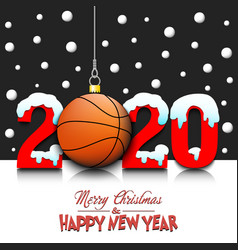 new year and basketball ball hanging on strings vector image