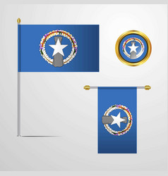 Northern mariana islands waving flag design with vector