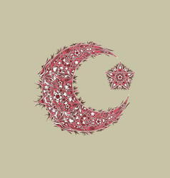 Oriental pattern moon and stars islam arabic vector