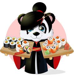 Panda sushi vector