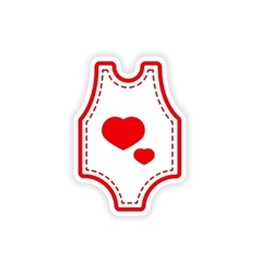 Paper sticker baby clothes on white background vector