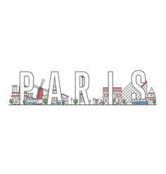 paris travel lettering in linear style vector image