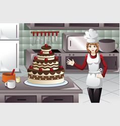 Pastry cook decorating a cake vector