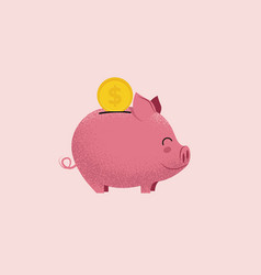 Piggy bank pig money box with coin isolated on vector