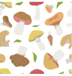 poisonous and edible mushrooms seamless pattern vector image