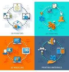 Printer 3d set vector