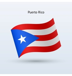 Puerto Rico flag waving form vector