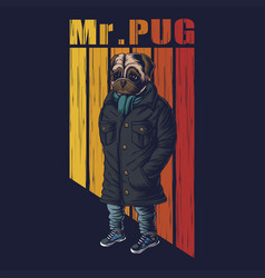 pug dog fashion vector image