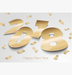 Realistic gold foil paper number 2018 vector