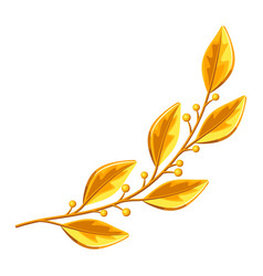 Realistic gold laurel branch decorative element vector