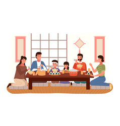 Relatives eating japanese food people in national vector