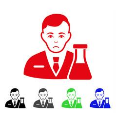 Sad chemistry man icon vector
