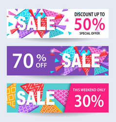 sale banners discount coupons template set vector image