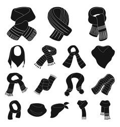 Scarf and shawl black icons in set collection for vector