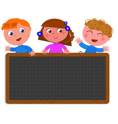 school children holding a black board vector image