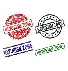 Scratched textured naturism zone stamp seals vector