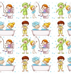 Seamless background with kids in bathtub vector image