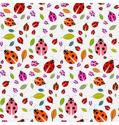 Seamless Pattern with Ladybirds and Leaves vector image