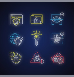Security system neon light icons set vector