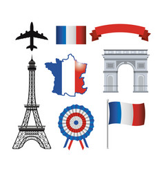 set eiffel tower and france flag with ribbon vector image