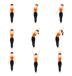 Simple standing warm-up yoga asanas set for vector
