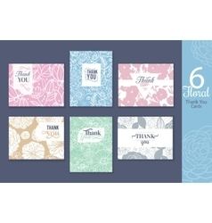 Six floral wedding thank you cards set vector