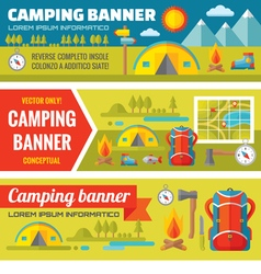 Summer camping - mountain expedition adventures vector
