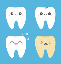 Tooth icon set healthy smiling crying bad ill vector