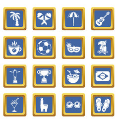 travel brazil icons set blue square vector image
