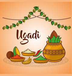 Ugadi ceramic pot food spices coconut decoration vector