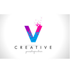 V letter logo with shattered broken blue pink vector