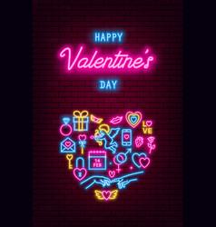valentines day neon baner flyer poster vector image