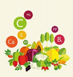 Vegetables fruit and vitamins vector