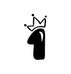 vintage cute number 1 with crown princess vector image
