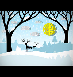Winter landscape field covered with snow trees vector