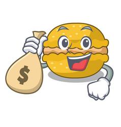 With money bag banana macarons isolated on a vector
