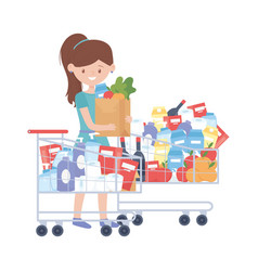 Woman shopping with cart bag and products vector