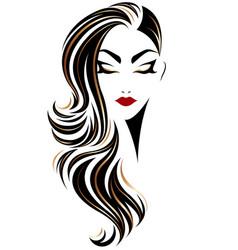 Women long hair style icon logo women on white vector