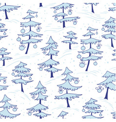 cute winter seamless pattern with christmas tree vector image vector image
