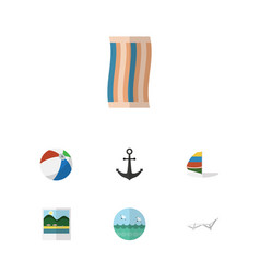 flat icon season set of deck chair reminders vector image vector image