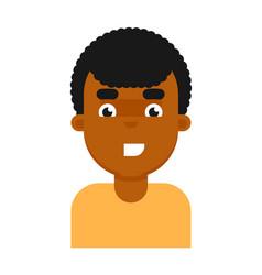 Happy facial expression of black boy avatar vector