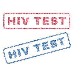 hiv test textile stamps vector image vector image