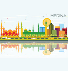 Medina skyline with color buildings blue sky and vector